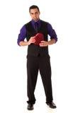 Homem com caixa Heart-shaped Imagens de Stock
