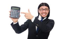 Homem com a calculadora isolada no branco Fotos de Stock