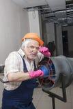 Homem com calefator industrial Imagem de Stock Royalty Free