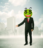 Homem com a cara do smiley do sinal de dólar Imagem de Stock Royalty Free