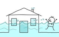 Homem com casa & inundação Imagens de Stock Royalty Free