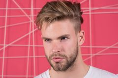 Homem com a cerda na cara concentrada restrita, fundo cor-de-rosa Conceito da masculinidade Indivíduo farpado e atrativo com fotografia de stock