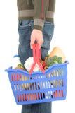 Homem com cesta de compra Fotos de Stock Royalty Free