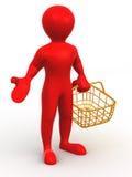 Homem com cesta do consumidor ilustração do vetor