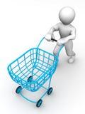 Homem com cesta do consumidor ilustração stock