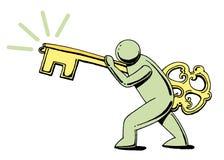 Homem com chave ao sucesso Fotos de Stock