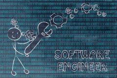 Homem com a chave que estabelece o código binário, trabalhos da Software Engineer foto de stock