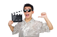 Homem com clapperboard do filme isolado Fotos de Stock Royalty Free