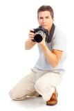 Homem com câmera da foto Fotografia de Stock