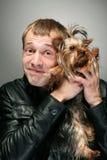 Homem com cão Fotografia de Stock