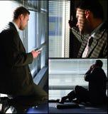 Homem com colagem do telefone Foto de Stock Royalty Free