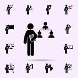 homem com ?cone do grau da gest?o Grupo universal de grau do estudante para o projeto do Web site e o desenvolvimento, desenvolvi fotografia de stock