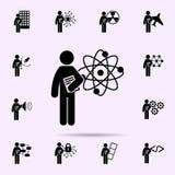 homem com ?cone do grau da nanotecnologia Grupo universal de grau do estudante para o projeto do Web site e o desenvolvimento, de ilustração royalty free