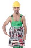 Homem com conjunto de ferramentas Fotos de Stock Royalty Free