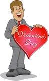 Homem com coração vermelho grande Imagem de Stock