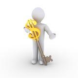 Homem com dólar-chave Fotos de Stock Royalty Free