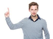 Homem com dedo acima Imagens de Stock