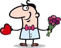 Homem com desenhos animados do coração e das flores Foto de Stock