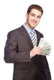 Homem com dinheiro no terno Fotografia de Stock