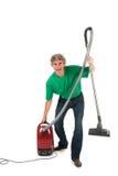 Homem com divertimento quando tarefas domésticas Fotos de Stock Royalty Free