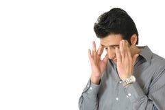 Homem com dor de cabeça imagem de stock