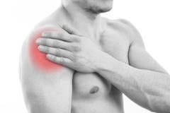 Homem com dor do ombro foto de stock royalty free