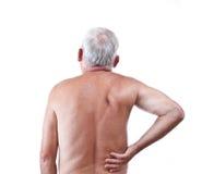 Homem com dor traseira imagem de stock royalty free