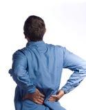 Homem com dor traseira Imagens de Stock Royalty Free