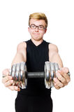 Homem com dumbbells Fotos de Stock Royalty Free