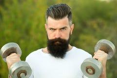Homem com dumbells Fotos de Stock Royalty Free