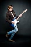 Homem com electro guitarra Foto de Stock Royalty Free