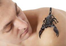 Homem com escorpião Imagem de Stock
