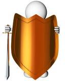 Homem com espada e protetor Fotos de Stock