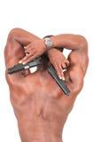 Homem com espingarda de assalto e revólver Fotos de Stock Royalty Free