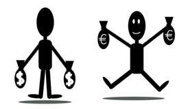Homem com euro e dólares Imagens de Stock