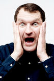 Homem com expressão facial chocada fotografia de stock royalty free