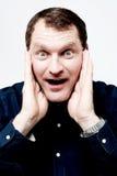 Homem com expressão surpreendida foto de stock