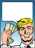 Homem com fala do dinheiro Imagens de Stock