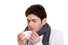 Homem com febre de feno foto de stock royalty free