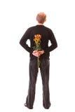 Homem com flores Fotografia de Stock Royalty Free