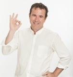 Homem com gesto APROVADO Imagens de Stock