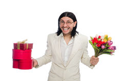 Homem com giftbox Fotografia de Stock Royalty Free