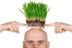 Homem com grama para o cabelo Fotos de Stock