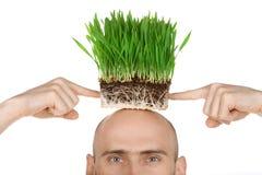 Homem com grama para o cabelo fotografia de stock