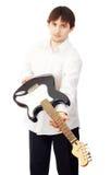 Homem com guitarra Foto de Stock Royalty Free