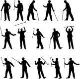 Homem com ilustrações de um bastão Imagem de Stock