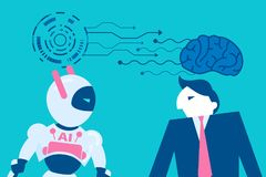 Homem com inteligência artificial ilustração stock