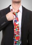 Homem com laço da bandeira fotos de stock