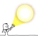 Homem com lanterna elétrica em branco Imagem de Stock