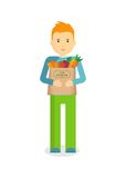 Homem com legumes frescos Fotografia de Stock Royalty Free